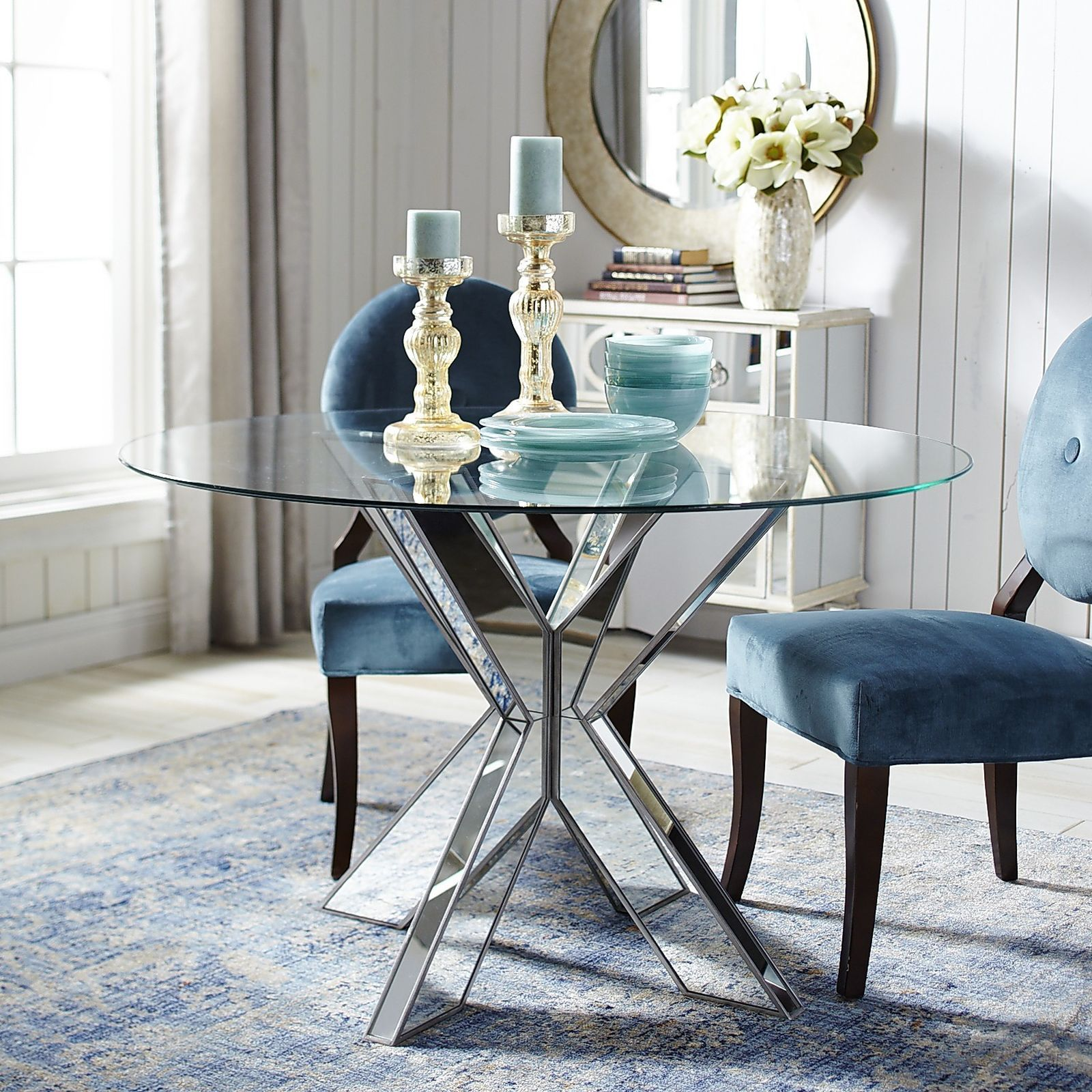 Simon X Mirrored Dining Table Base Glass Dining Room Table Dining Table Bases Glass Round Dining Table