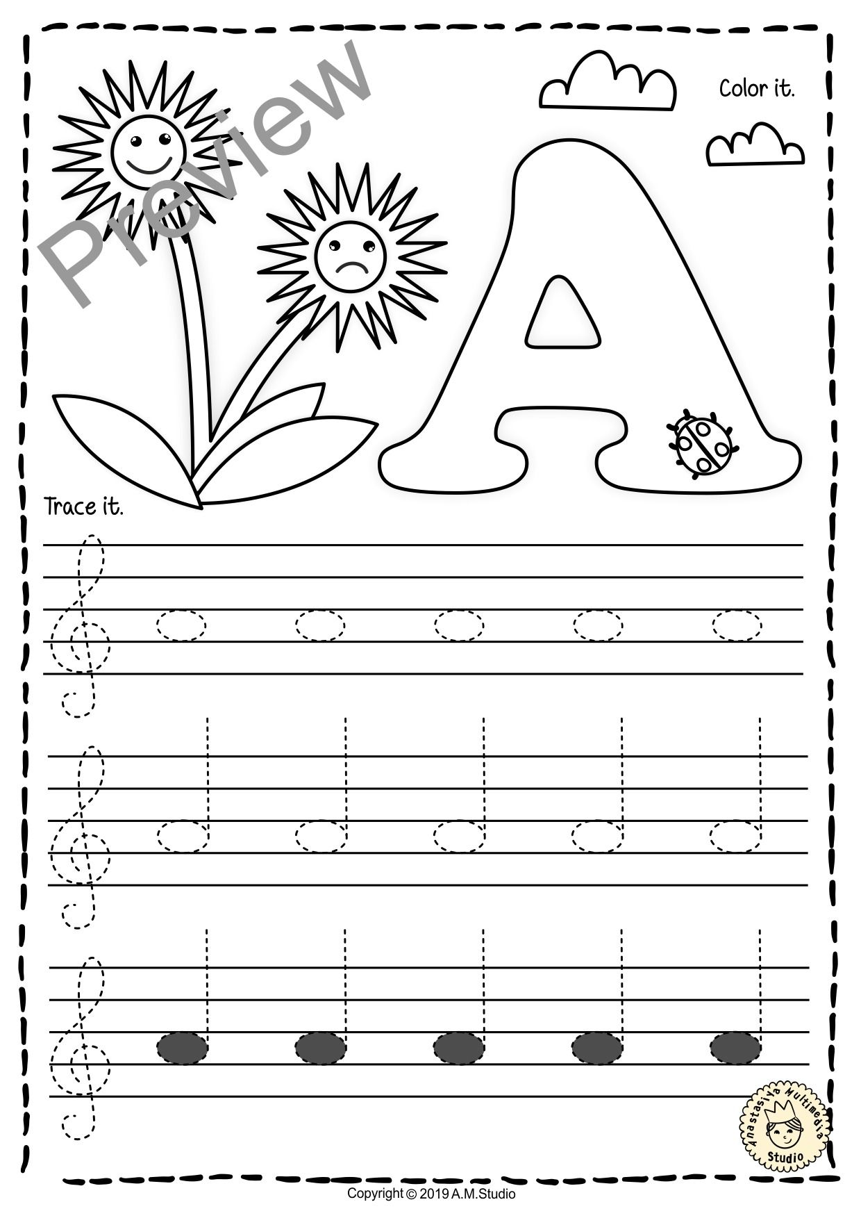 Treble Clef Tracing Music Notes Worksheets For Spring