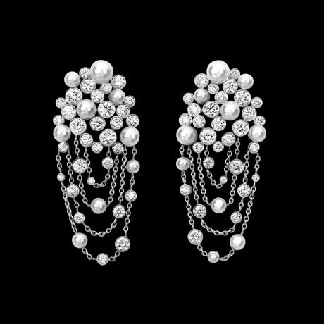 Piaget Limelight Garden Party earrings - garlands of diamonds and pearls