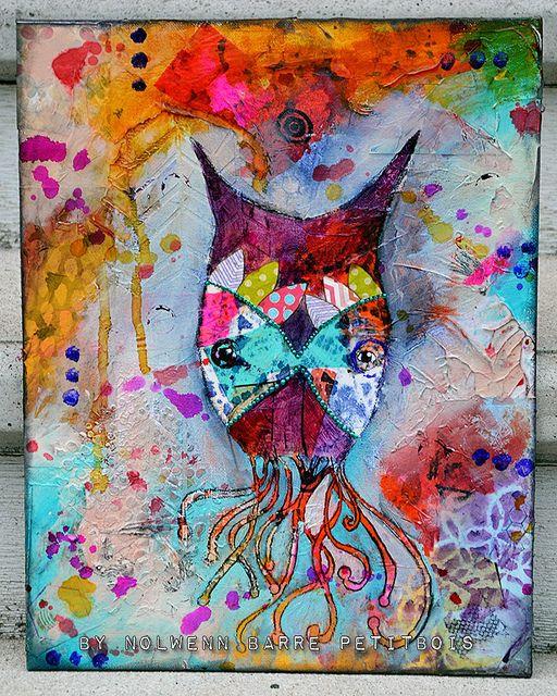 «Owlctopus» Mixed Media painting by Nolwenn Barre Petitbois