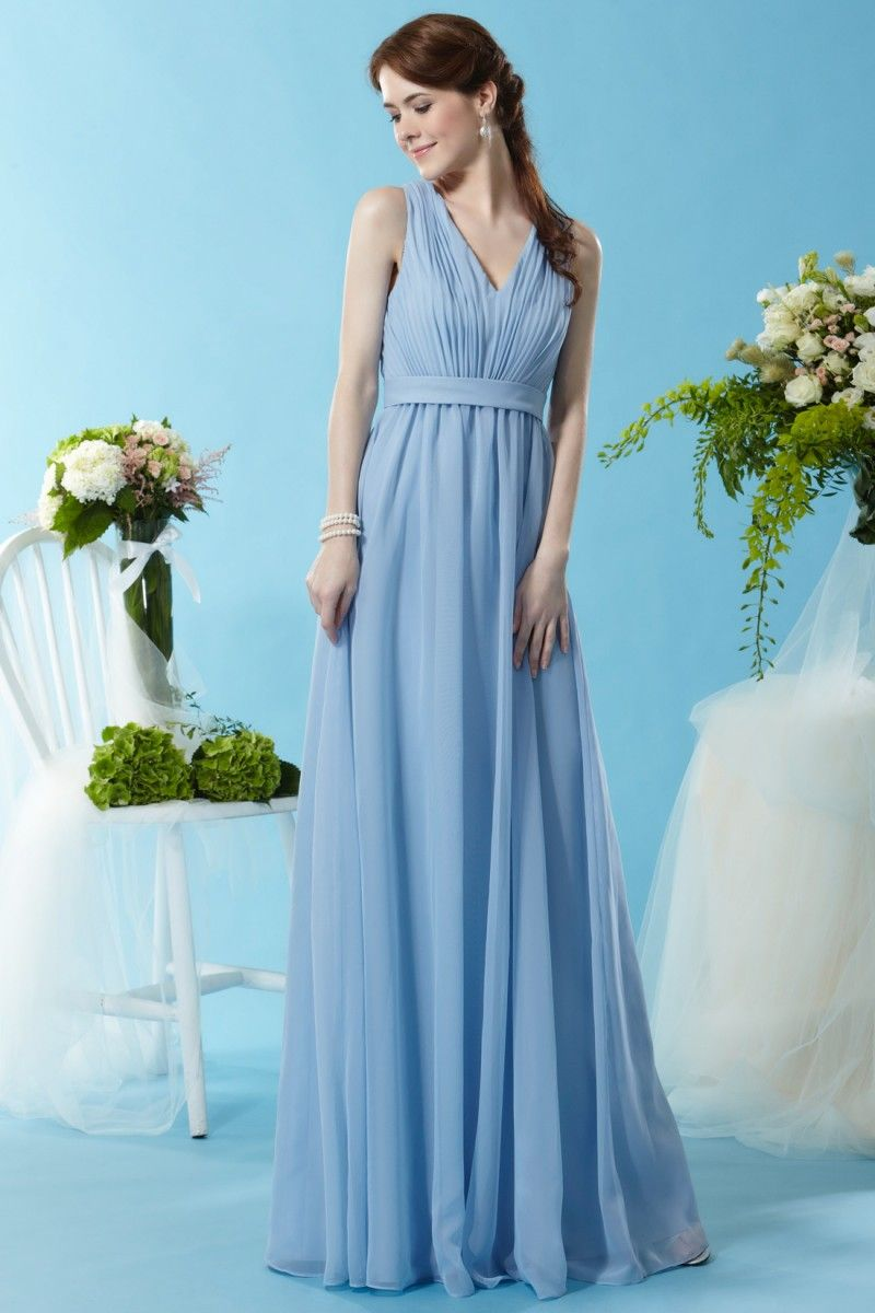 Eden Bridesmaids 7452 A Chiffon gown made with a ruching V-neck ...
