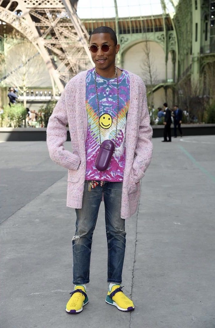 ad222711aa0d Pharrell Rocks Chanel Cardigan, Cactus Plant Flea Market Shirt And Adidas  Hu NMD Sneakers