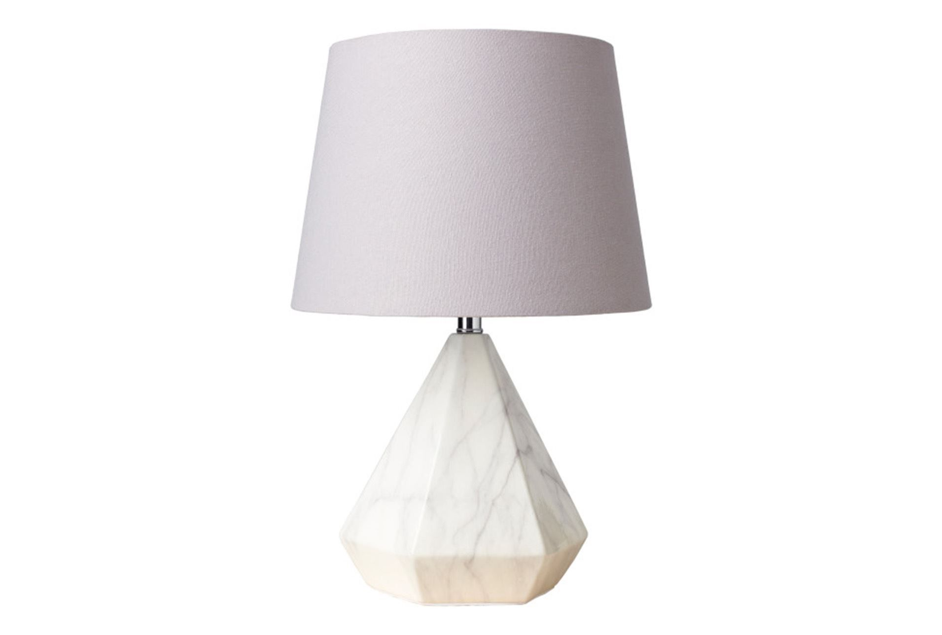 Table Lamp White Faux Marble Grey Shade Short White Table Lamp Table Lamp Contemporary Table Lamps