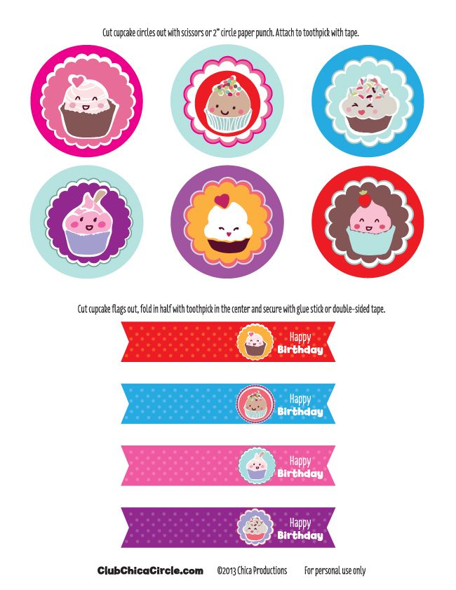 Free Happy Birthday Cupcake Topper Printable | Tween Craft ...