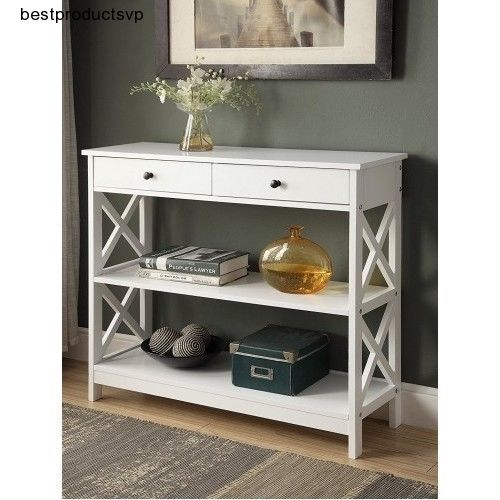 Wood Hallway Table Accent Furniture Console Sofa Antique Entryway Entry  White