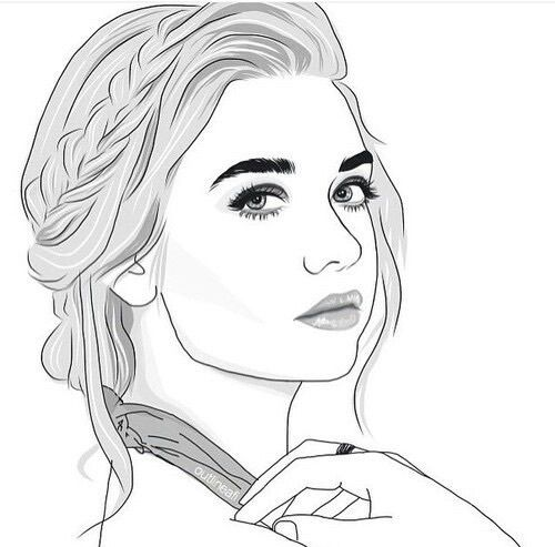 Outline Drawing And Draw Image Tumblr Outline Outline Art Girl Drawing