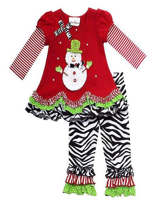 This red and zebra SNOWMAN applique ruffled 2-fer top and leggings ...