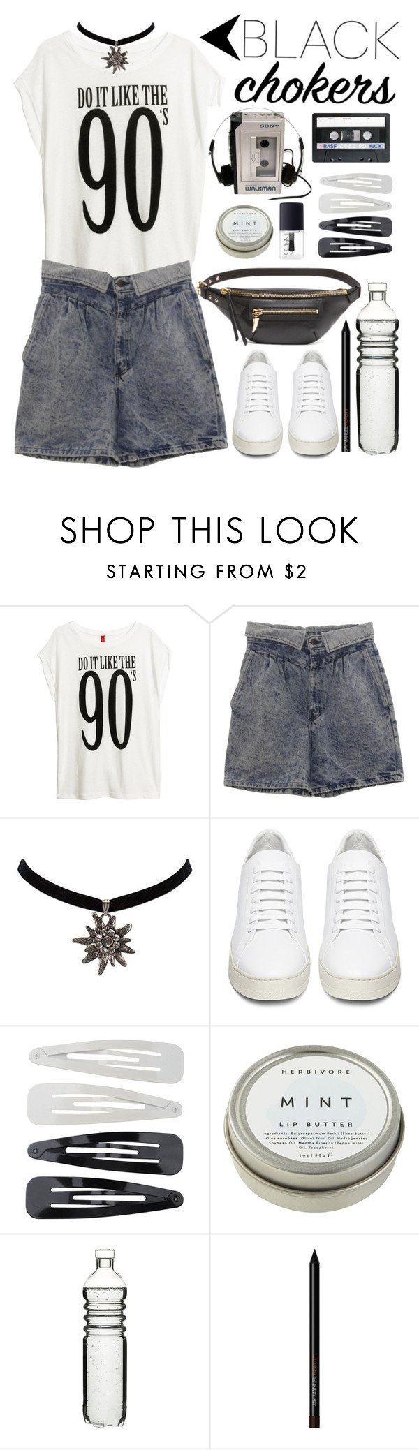"""Black Choker"" by sebi86 ❤ liked on Polyvore featuring H&M, Retrò, Off-White, Forever 21, CB2, Dot & Bo, NARS Cosmetics and blackchokers"
