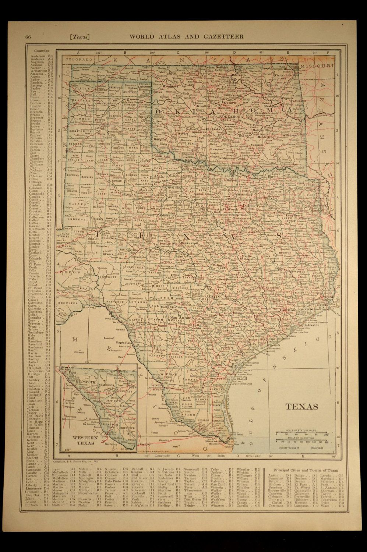 Texas Map of Texas Map of Oklahoma Map Wall Decor Art Railroad ... on