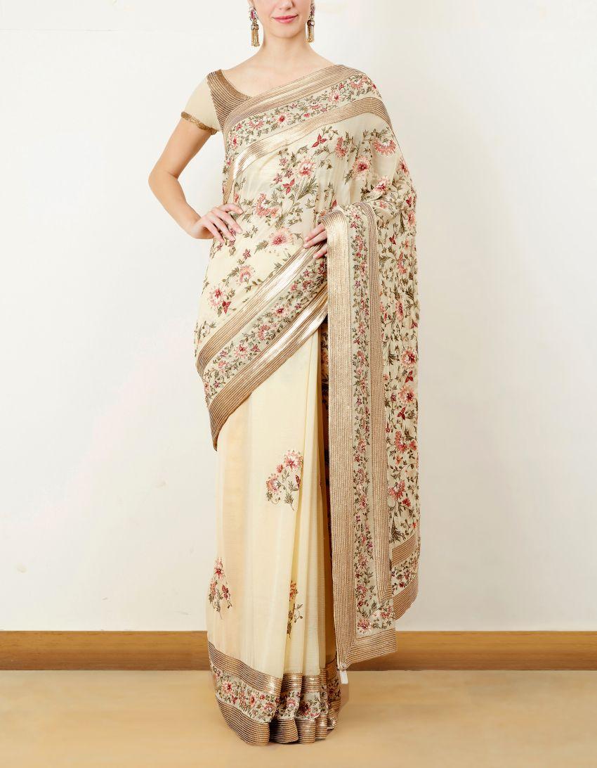 Off white tussar silk saree off white thread embroidered saree set  sarees  pinterest  saree