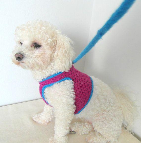 Crochet DOG harness, Dog Harness Vest, Matching leash, Pets Harness ...