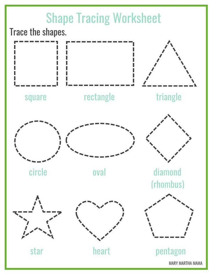 Free Printable Shape Tracing Worksheets Shape Worksheets