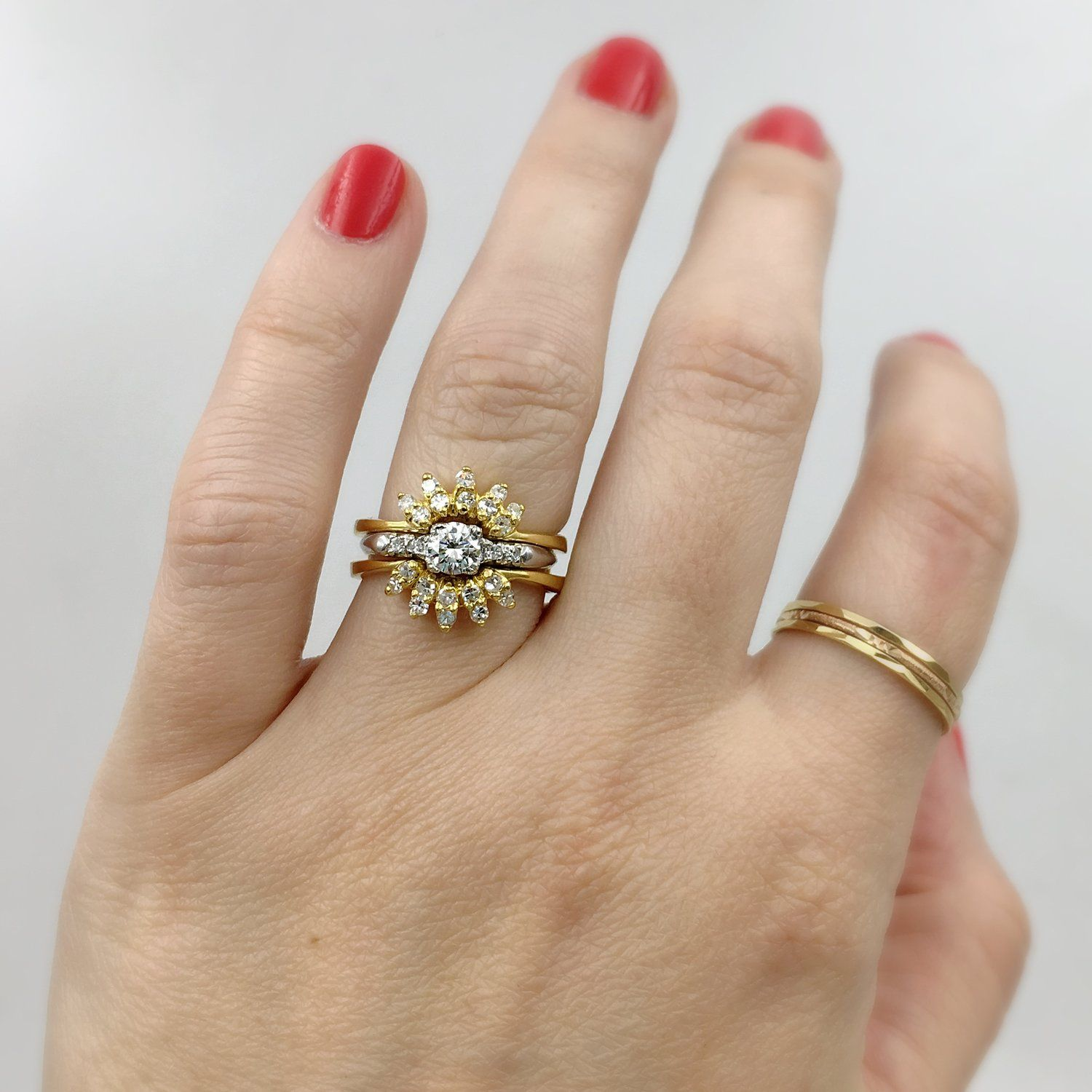 Yellow gold diamond guard ring, vintage curved wedding