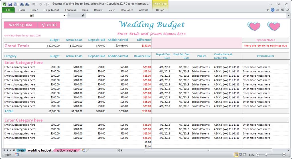 Georges Wedding Budget Spreadsheet Plus V2 0 Wedding Budget Spreadsheet Budget Wedding Wedding Budget Calculator