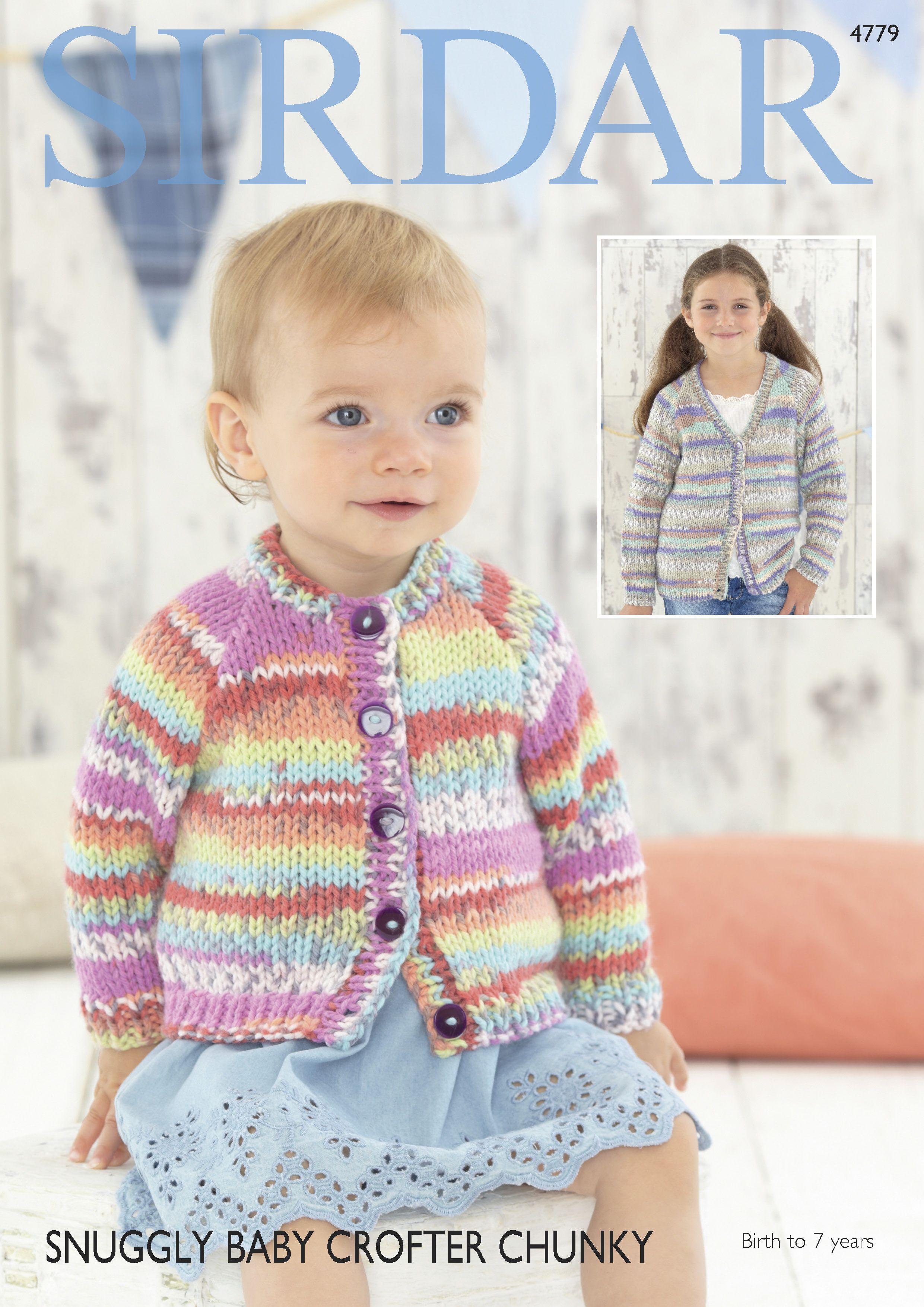c0bb5192c66d Sirdar Snuggly Baby Crofter Chunky Cardigan Pattern 4779