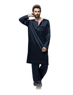d62b7cab3c Galabiyyas Style Long Sleeves Silk Sleep Robe For Man 22 Momme by Fairylotus