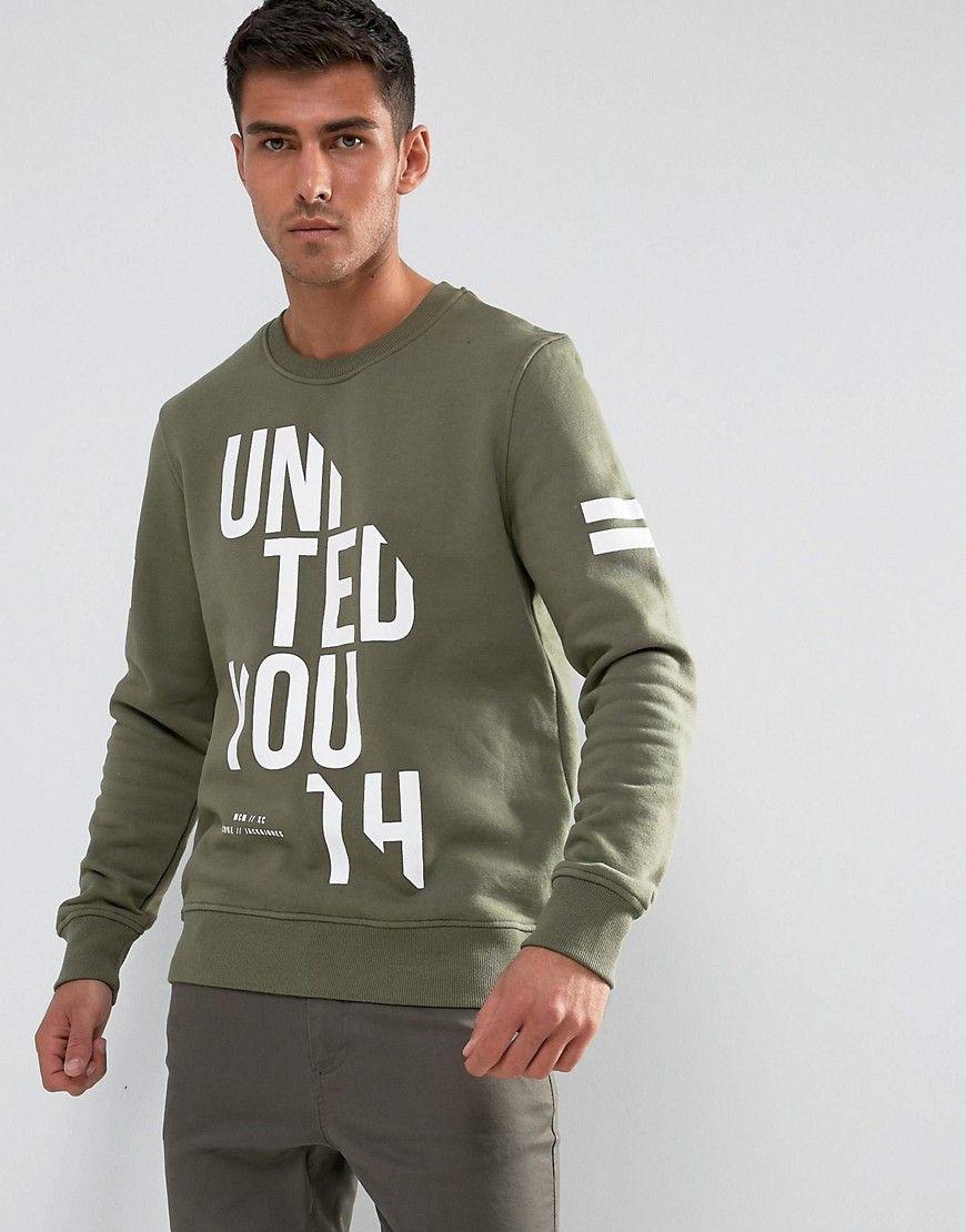 Jack Jones Sliced Logo Sweatshirt Green Sweatshirts Mens Sweatshirts Hooded Sweatshirt Men [ 1110 x 870 Pixel ]