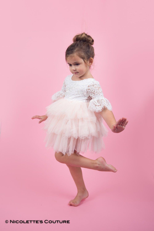 White lace flower girl dress blush tulle long sleeve wedding dress