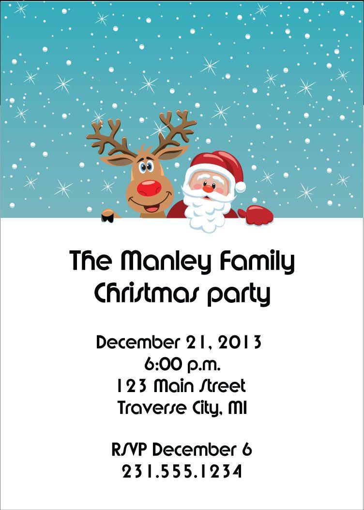 Reindeer Santa Christmas Party Invitations | Everything Christmas ...