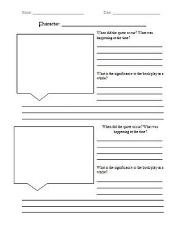 Free Quote Analysis Worksheet Quotes Worksheets School Levels