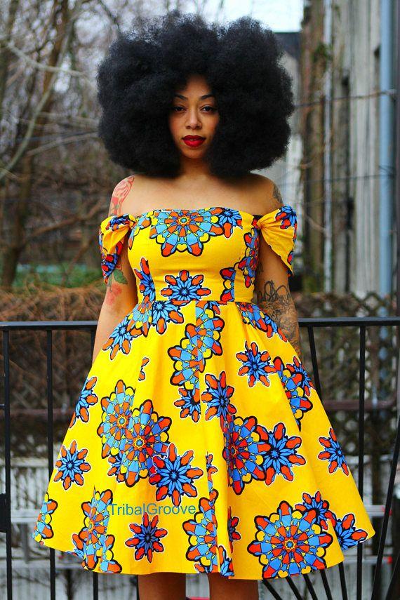 a91a39c31f6 ADE Yellow Flower African Ankara Wax Print Off the Shoulder ...