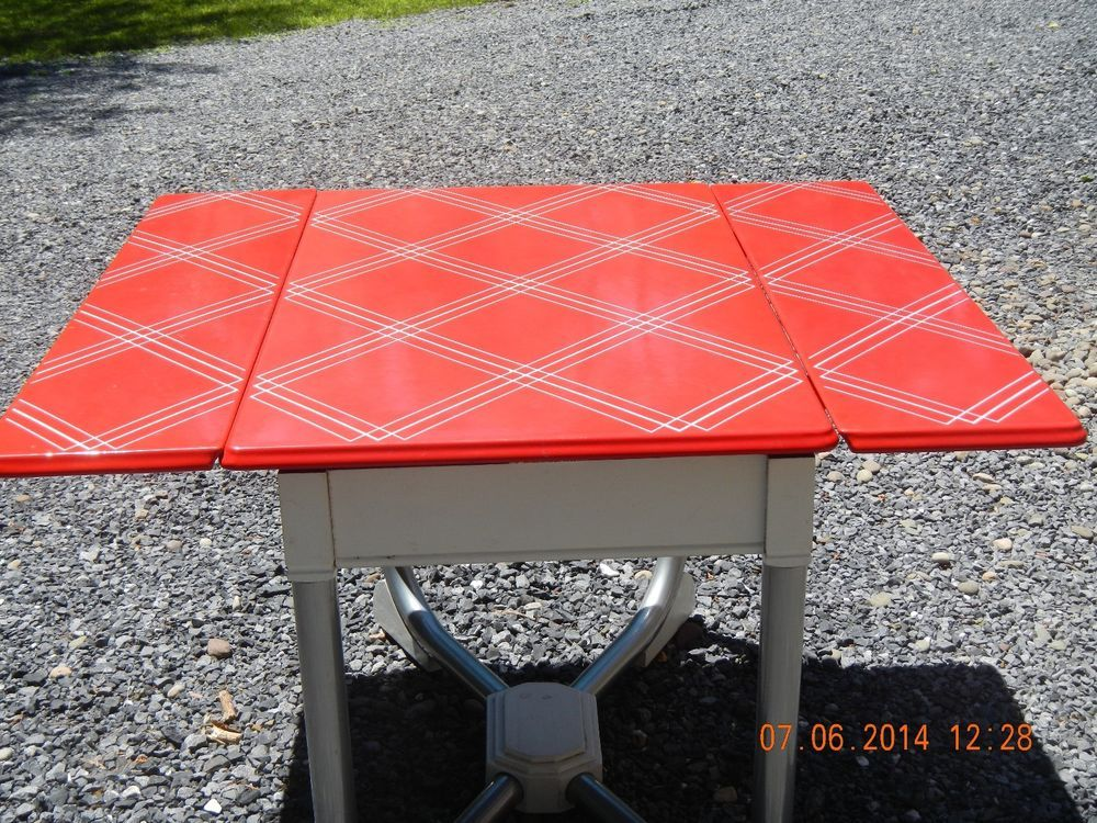 Vintage Enamel Red Top 1950 S Kitchen Hoosier Table 1940s1950s6070