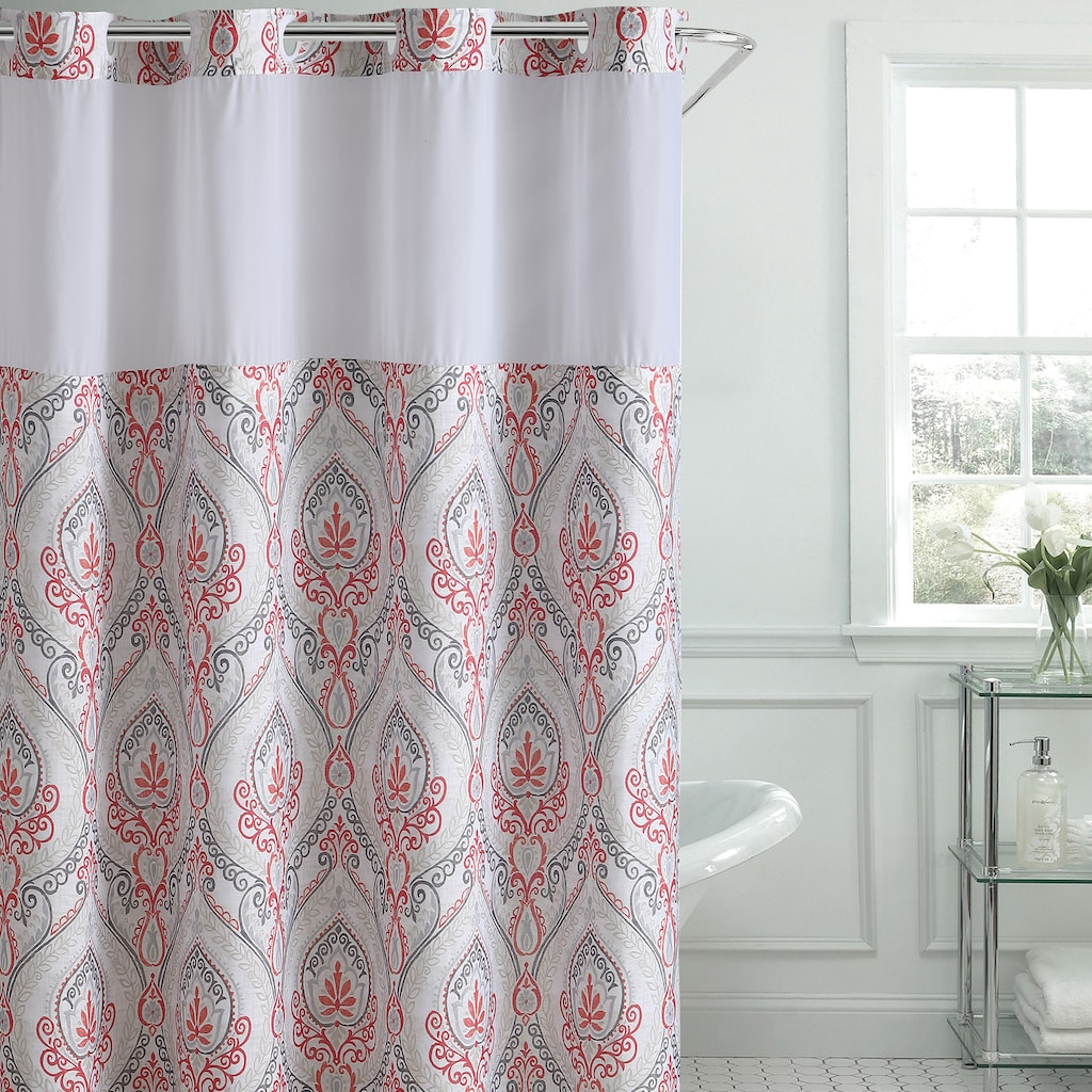 Hookless French Damask Print Coral Shower Curtain Peva Liner Coral Shower Curtains Curtains Shower Curtain Sets