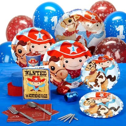 Cowboy 1st Birthday Standard Party Pack for 8