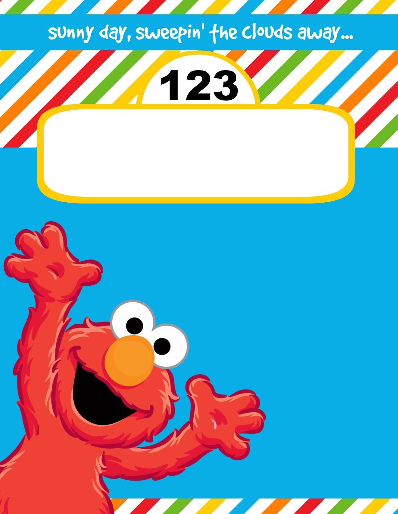 Elmo Cookie Monster Inspired Post Card Birthday Invite Front Free Printable Creative Matri Elmo Invitations Elmo Birthday Invitations Sesame Street Invitations