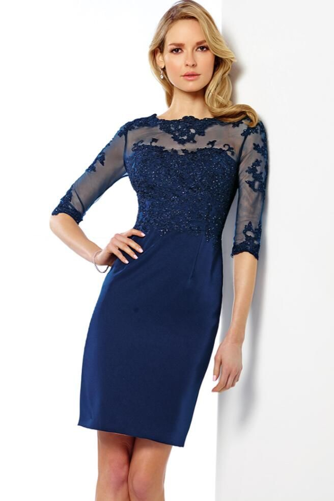 >> Click to Buy << Cecelle 2016 Navy Blue Short  Beaded Mother Of The Bride Dresses Half Sleeves Sheath Sparkly See Through Wedding Guests Gown New #Affiliate