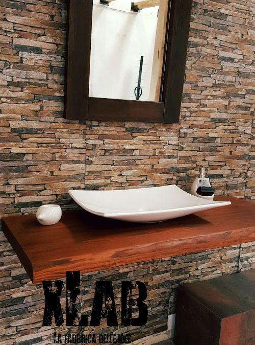 Arredo bagno mensola piano lavabo in legno massello - Mensola lavabo ...