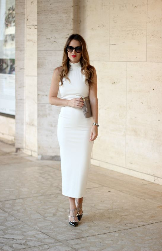 white dress with classic clutch and shoes