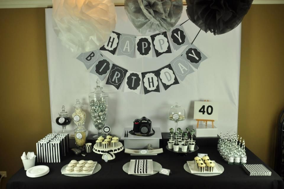 40thbirthdaypartycenterpieceideas 40th birthday dessert table