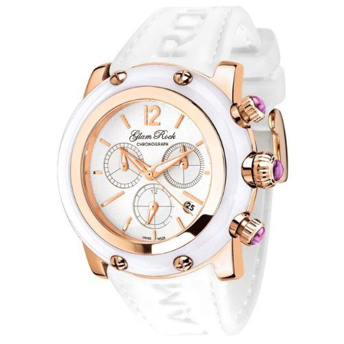 Glam Rock Women's GR10195 Miami Collection Chronograph White Silicone Watch $358.50