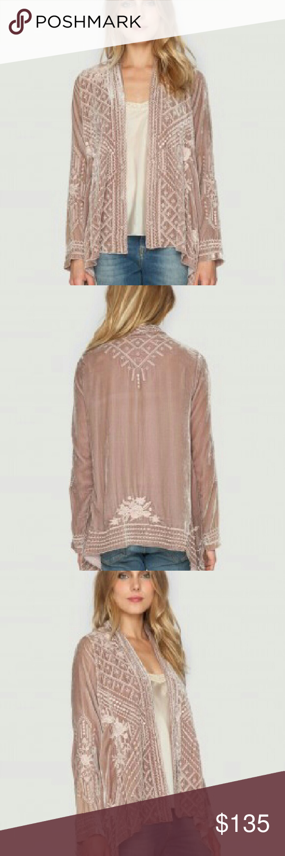KALYA VELVET DRAPED CARDIGAN The JWLA KALYA VELVET DRAPED CARDIGAN is the perfect boho jacket for Fall! This cardigan jacket is cut for a draped fit in luxurious velvet and adorned by a vintage-inspired tonal embroidery design.?In mint condition. Johnny Was Jackets & Coats Jean Jackets