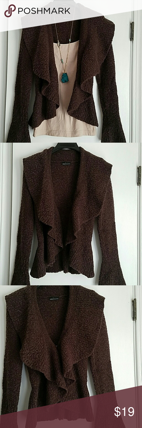 Moda International Cardigan Sweater Rare Find! Sweater-Cardigan with waterfall neckline and hook and eye closure.   Soft boucle knit in a brown  color.  Just throw over a cami and jeans and you have a perfect date night outfit. This is a steal? Moda International Sweaters Cardigans