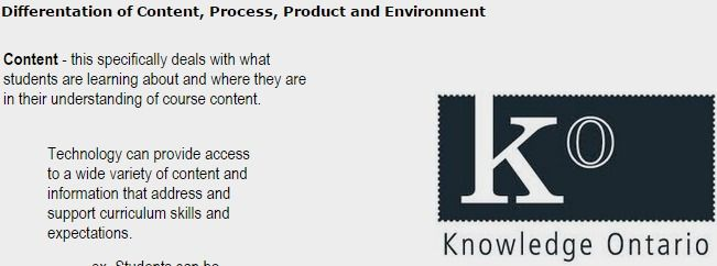 Differentation Of Content Process Product And Environment