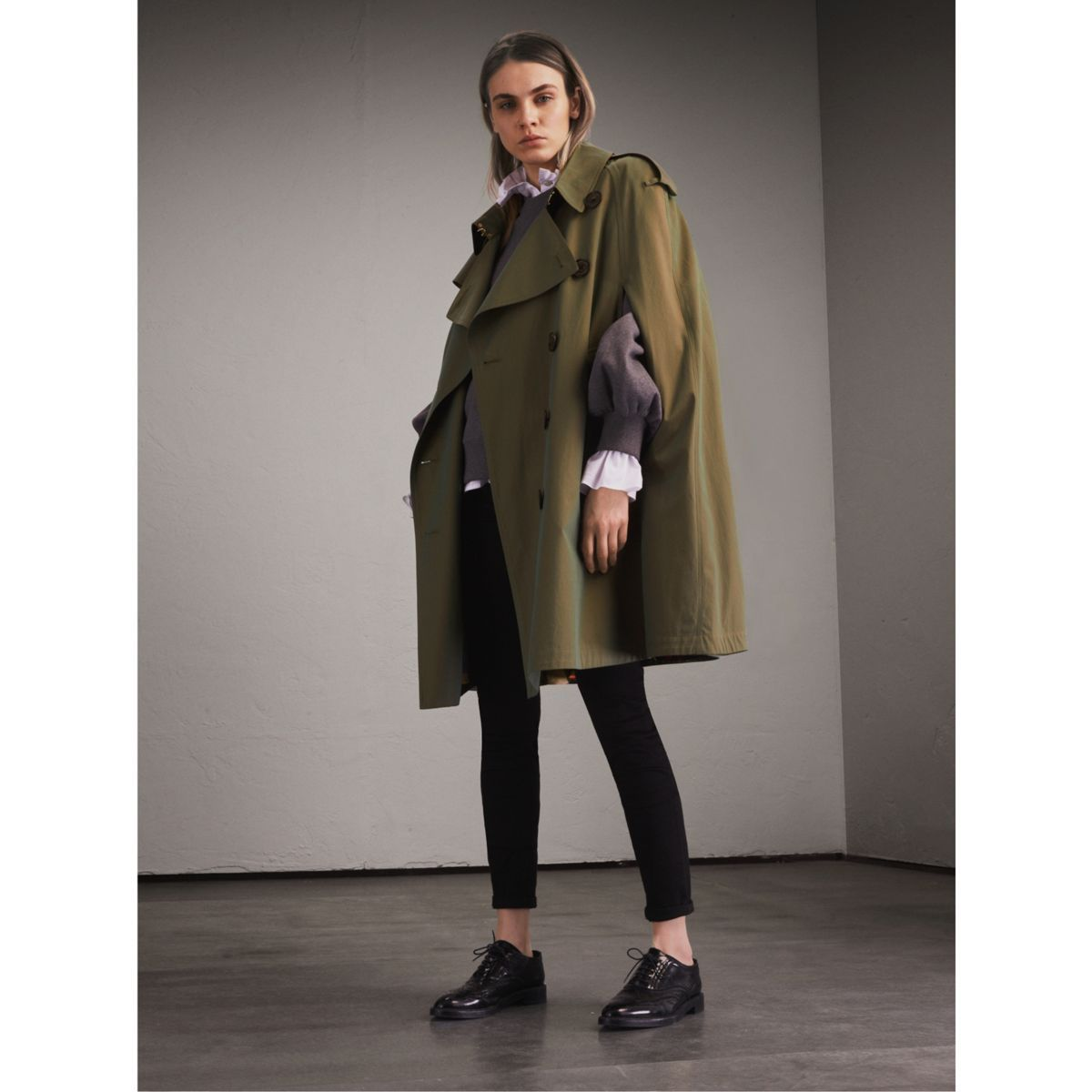 Burberry Tropical Gabardine Cape with Check Detail, Size: 02, Green