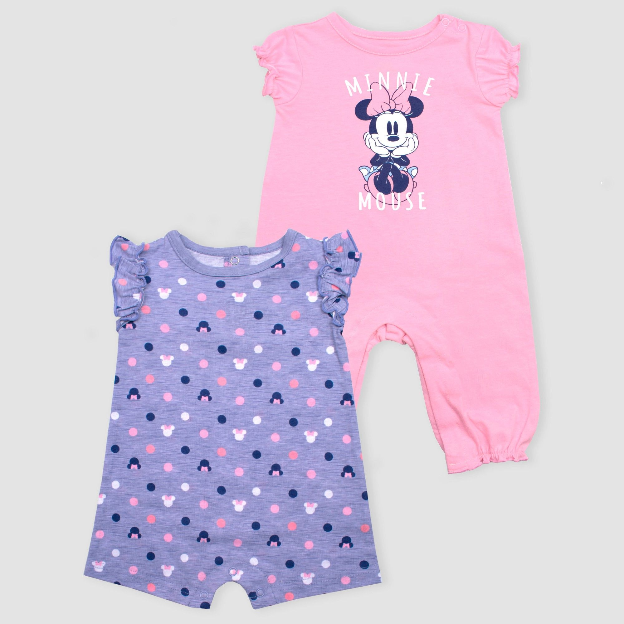 d35f607b76a9 Baby Girls  Disney Mickey Mouse   Friends Minnie Mouse 2pk Rompers - Pink Purple  Newborn