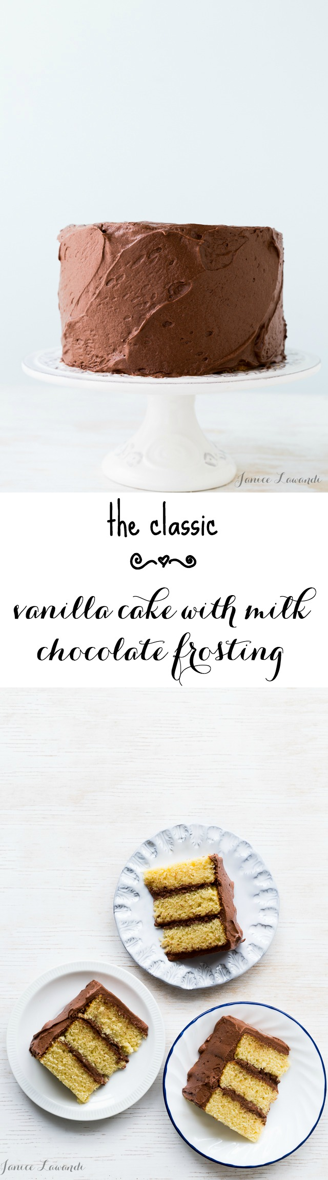 Vanilla cake with milk chocolate frosting