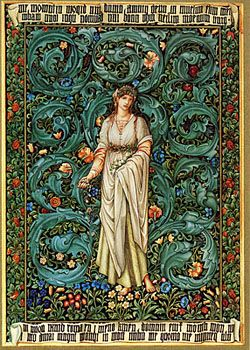 Study for the Flora Tapestry, 1885/Figure drawing by Sir Edward Coley Burne-Jones and background added by William Morris Pen and black and colored inks, tempera Gift of John M. Crawford, Jr.