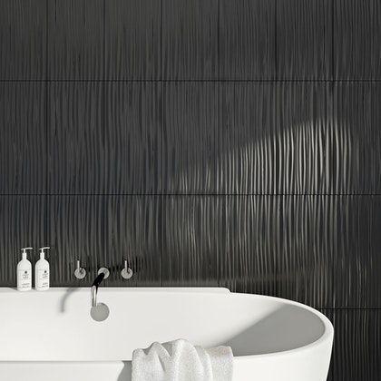 british ceramic tile pure black wave gloss tile 248mm x