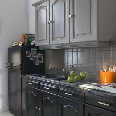 Exemple De Rénovation Cuisine Grise Et Noir Avec Peinture Meuble Cuisine V33