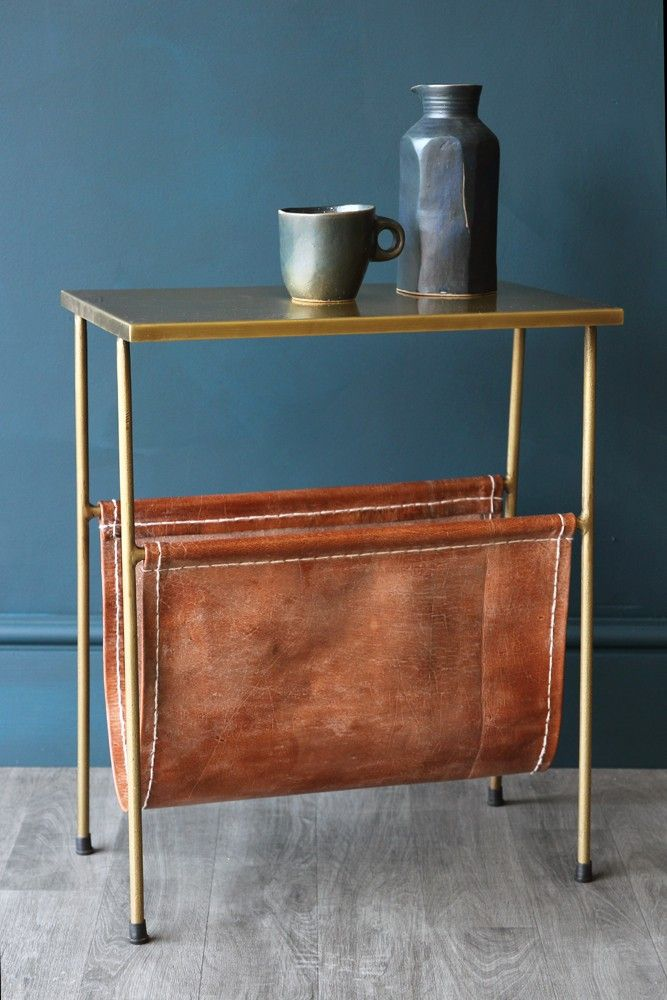 Exceptional Gatsby Side Table With Leather Magazine Holder   Coffee U0026 Side Tables    Furniture