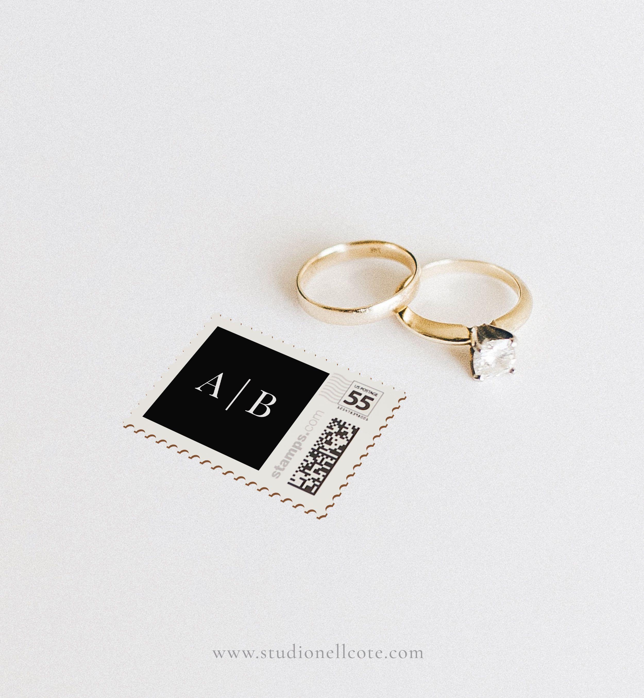 Classic monogram wedding stamp for
