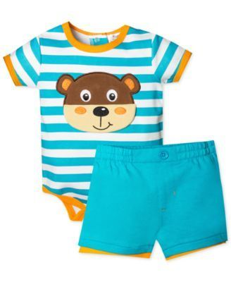 Baby Essentials Baby Boys' 2-Piece Bear Bodysuit & Shorts Set