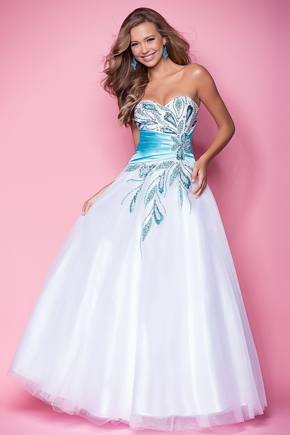 Beaded floral elegance in a sexy prom dress! Delicate pastel stones ...