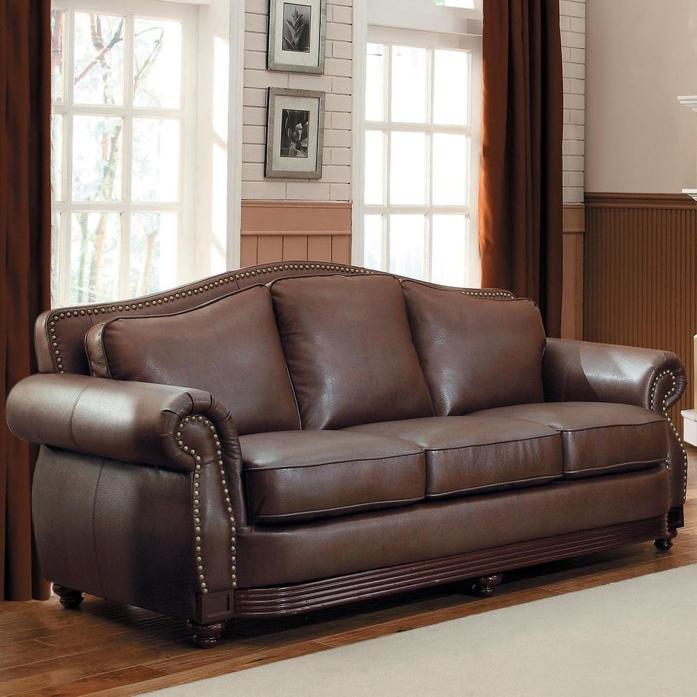 Myles traditional chocolate bonded leather rolled arm sofa for Leather sectional sofa overstock