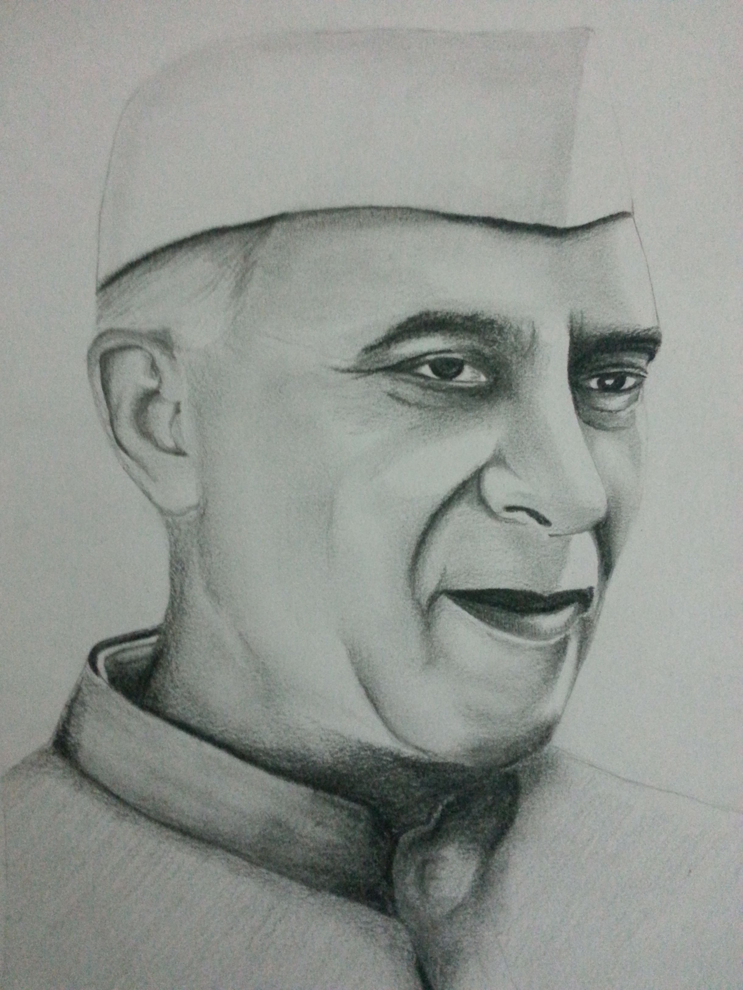 Drawing of jawaharlal nehru using pencils visit and subscribe our youtube channel for more fun