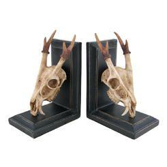 Zeckos Muntjac Deer Skull and Antlers Decorative Bookends